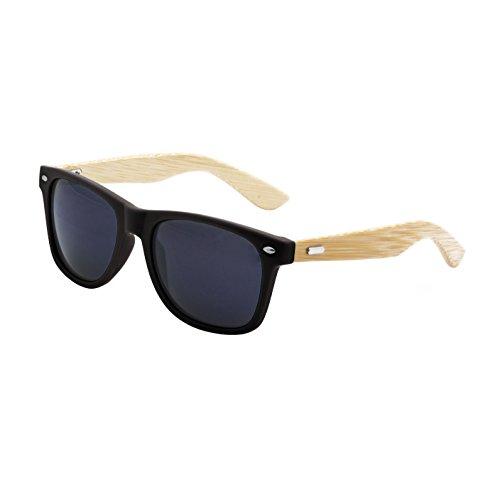 13111fd4d0 LogoLenses Men s Bamboo Wood Arms Classic Sunglasses Black. These sunglasses  feature uv400 rated sunglasses lenses ...