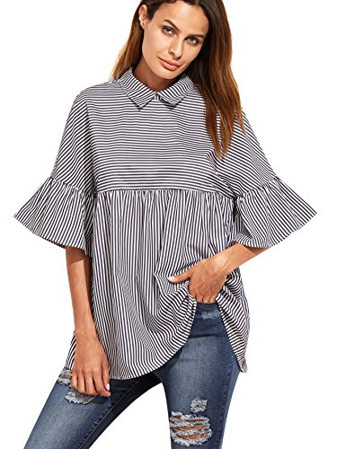619dc12896 Striped, ruffle stand collar, cold shoulder, keyhole back, and long sleeve  blouse top. There is a tie on each sleeve, and a button on each cuff.